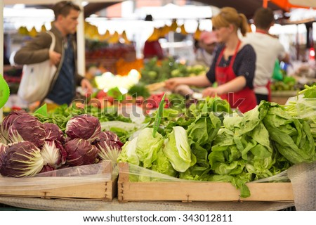 Market stall with variety of organic vegetable. - stock photo