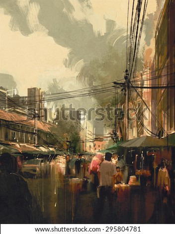 market street,colorful cityscape digital painting - stock photo