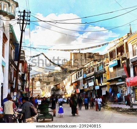 Market street main bazar in Leh painting - stock photo