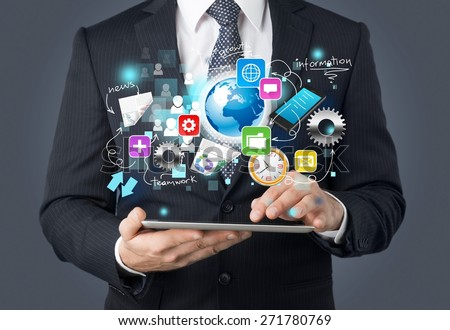 Market. Usinessmen, hand touch screen graph on a tablet - stock photo