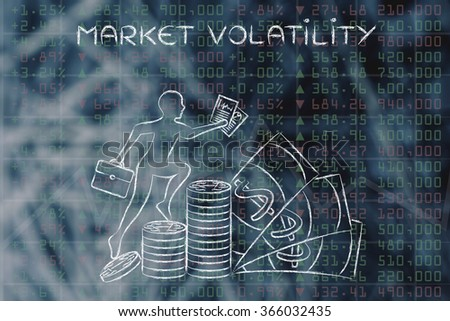 market volatility: trader climbing on top of coin stacks in front of stock exchange results - stock photo