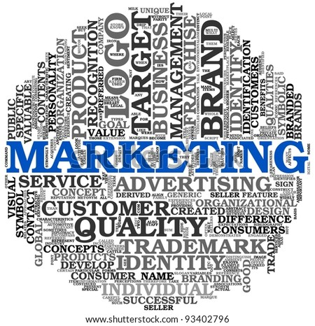 Marketing and advertising concept in word tag cloud isolated on white background - stock photo