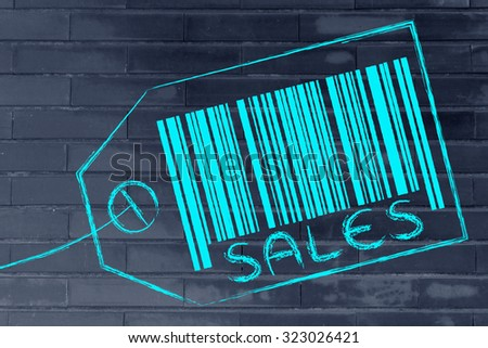 marketing and the retail industry: item label with code bar saying Sales