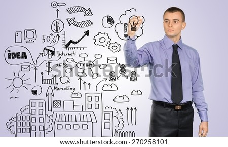 Marketing. Businessman drawing business concept on a white background - stock photo