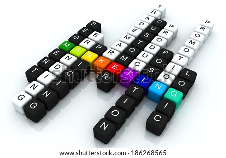 Marketing colorful box Crossword 3D render - stock photo