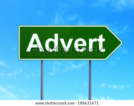 Marketing concept: Advert on green road (highway) sign, clear blue sky background, 3d render