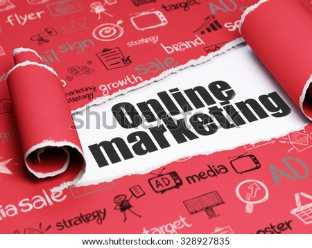 Marketing concept: black text Online Marketing under the curled piece of Red torn paper with  Hand Drawn Marketing Icons