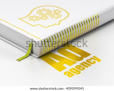 Marketing concept: closed book with Gold Head With Gears icon and text Ad Agency on floor, white background, 3D rendering - stock photo