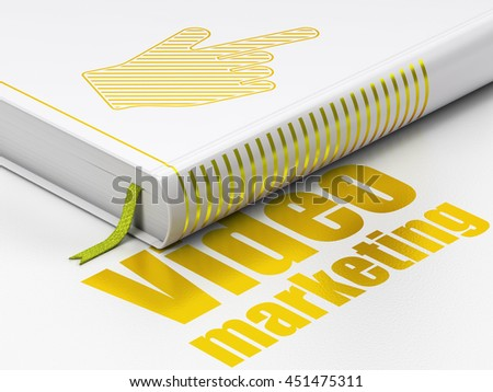 Marketing concept: closed book with Gold Mouse Cursor icon and text Video Marketing on floor, white background, 3D rendering - stock photo