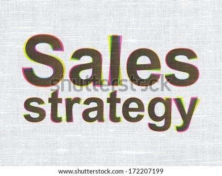 Marketing concept: CMYK Sales Strategy on linen fabric texture background, 3d render