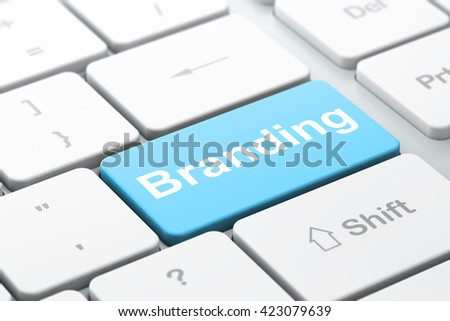 Marketing concept: computer keyboard with word Branding, selected focus on enter button background, 3D rendering