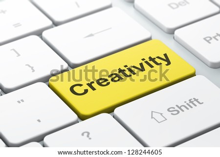 Marketing concept: computer keyboard with word Creativity, selected focus on enter button, 3d render - stock photo