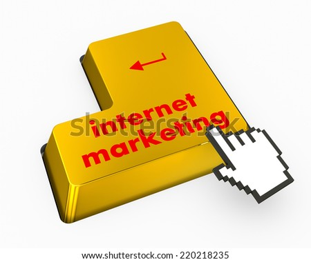 Marketing concept: computer keyboard with word Internet Marketing, selected focus on enter button background, 3d render - stock photo