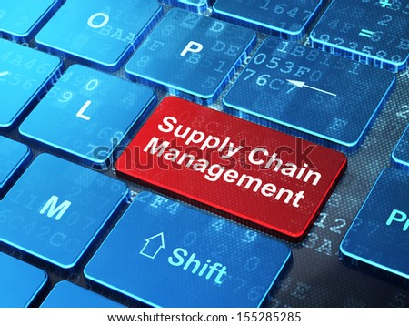 Marketing concept: computer keyboard with word Supply Chain Management on enter button background, 3d render - stock photo