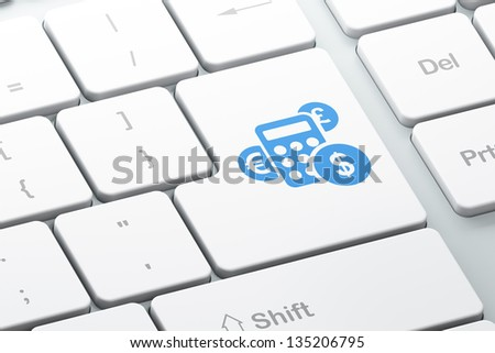 Marketing concept: Enter button with Calculator on computer keyboard background, 3d render - stock photo