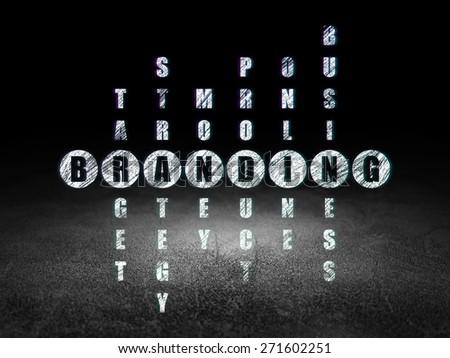 Marketing concept: Glowing word Branding in solving Crossword Puzzle in grunge dark room with Dirty Floor, black background, 3d render - stock photo
