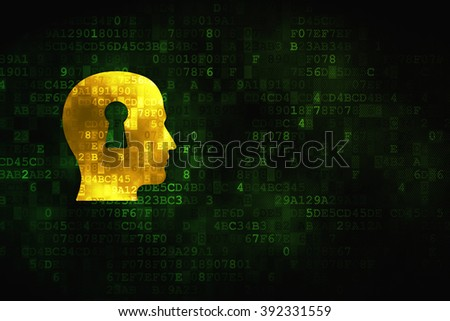 Marketing concept: Head With Keyhole on digital background