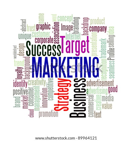 Marketing concept in word cloud style with sharpening on important word. - stock photo