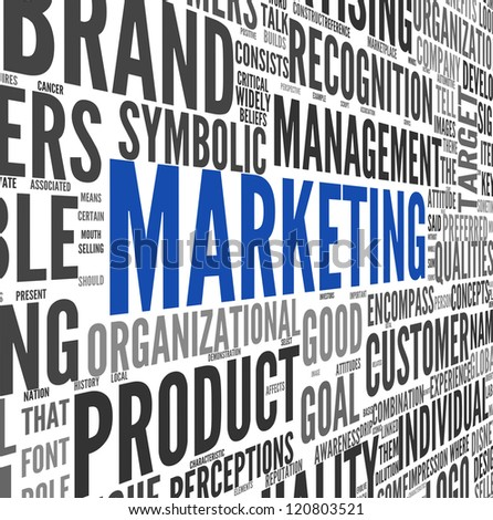 Marketing concept in word tag cloud on white - stock photo