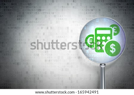Marketing concept: magnifying optical glass with Calculator icon on digital background, empty copyspace for card, text, advertising, 3d render - stock photo