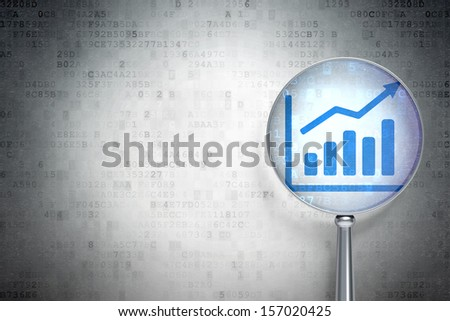 Marketing concept: magnifying optical glass with Growth Graph icon on digital background, empty copyspace for card, text, advertising, 3d render - stock photo