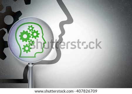 Marketing concept: magnifying optical glass with Head With Gears icon on digital background, empty copyspace for card, text, advertising, 3D rendering - stock photo