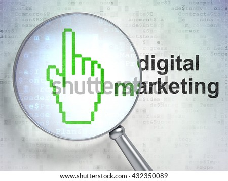 Marketing concept: magnifying optical glass with Mouse Cursor icon and Digital Marketing word on digital background, 3D rendering - stock photo