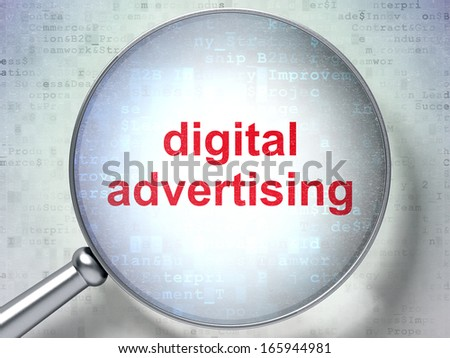 Marketing concept: magnifying optical glass with words Digital Advertising on digital background, 3d render