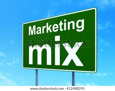 Marketing concept: Marketing Mix on green road highway sign, clear blue sky background, 3D rendering - stock photo