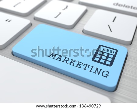 Marketing Concept. Marketing Word on Blue Computer Button. - stock photo