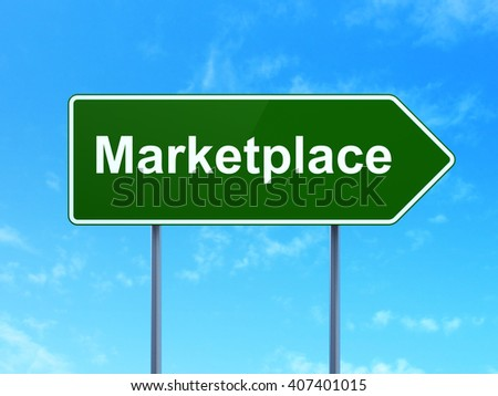 Marketing concept: Marketplace on green road highway sign, clear blue sky background, 3D rendering - stock photo