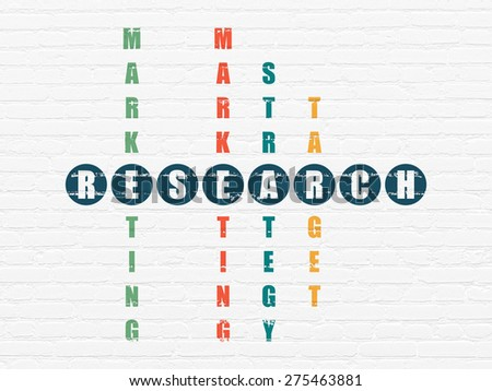 Marketing concept: Painted blue word Research in solving Crossword Puzzle, 3d render - stock photo