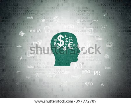 Marketing concept: Painted green Head With Finance Symbol icon on Digital Paper background with  Hand Drawn Marketing Icons