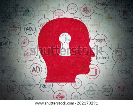 Marketing concept: Painted red Head With Keyhole icon on Digital Paper background with Scheme Of Hand Drawn Marketing Icons, 3d render - stock photo