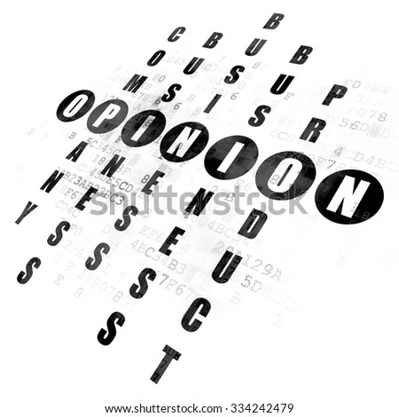 Marketing concept: Pixelated black word Opinion in solving Crossword Puzzle on Digital background - stock photo