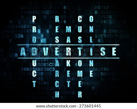 Marketing concept: Pixelated blue word Advertise in solving Crossword Puzzle on Digital background, 3d render - stock photo
