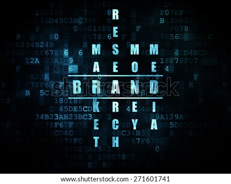 Marketing concept: Pixelated blue word Brand in solving Crossword Puzzle on Digital background, 3d render - stock photo
