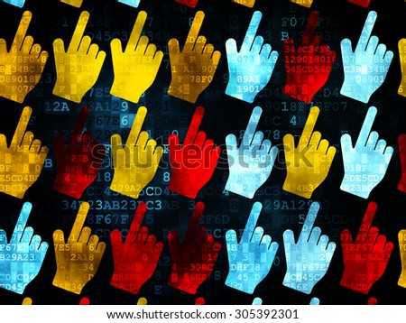 Marketing concept: Pixelated multicolor Mouse Cursor icons on Digital background, 3d render - stock photo