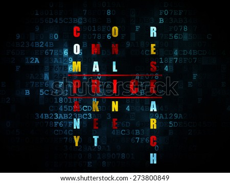 Marketing concept: Pixelated red word Price in solving Crossword Puzzle on Digital background, 3d render - stock photo