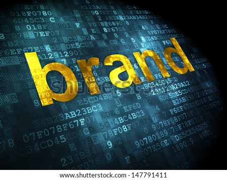 Marketing concept: pixelated words Brand on digital background, 3d render