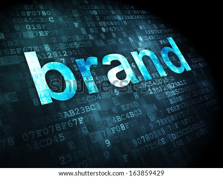 Marketing concept: pixelated words Brand on digital background, 3d render - stock photo