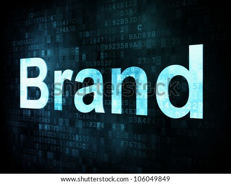 Marketing concept: pixelated words Brand on digital screen, 3d render
