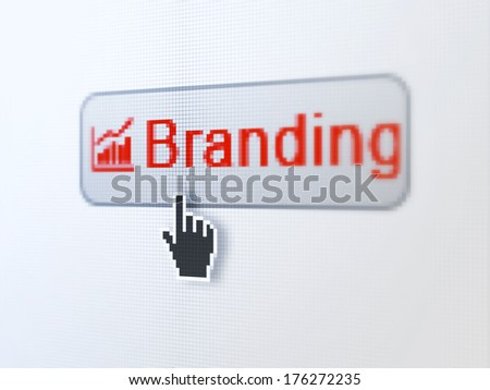 Marketing concept: pixelated words Branding and Growth Graph icon on button withHand cursor on digital computer screen background, selected focus 3d render - stock photo