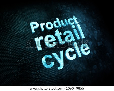 Marketing concept: pixelated words Product retail cycle on digital screen, 3d render