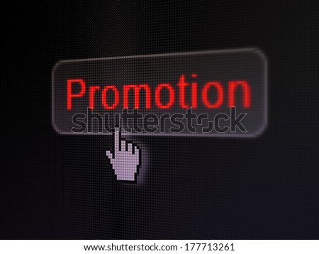 Marketing concept: pixelated words Promotion on button with Hand cursor on digital computer screen background, selected focus 3d render - stock photo