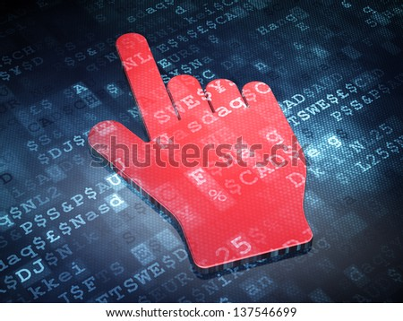 Marketing concept: Red Mouse Cursor on digital background, 3d render - stock photo