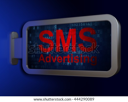 Marketing concept: SMS Advertising on advertising billboard background, 3D rendering - stock photo