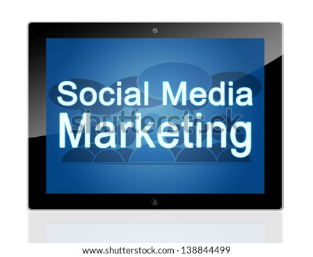 Marketing concept - Tablet pc with blue background and text social media marketing - stock photo