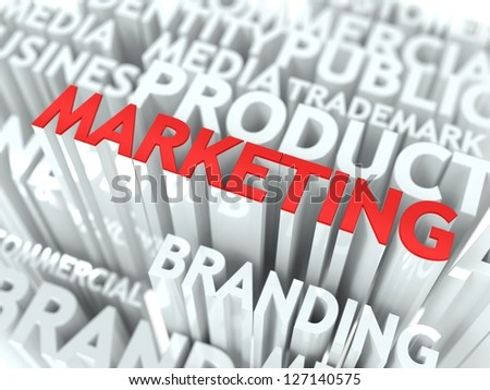 Marketing Concept. The Word of Red Color Located over Text of White Color. - stock photo