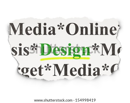 Marketing concept: torn newspaper with words Design on Paper background, 3d render